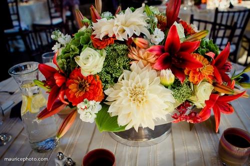 Maurice Photo Christopher Flowers wedding reception centerpiece lily sedum dahlia rose ranunculus