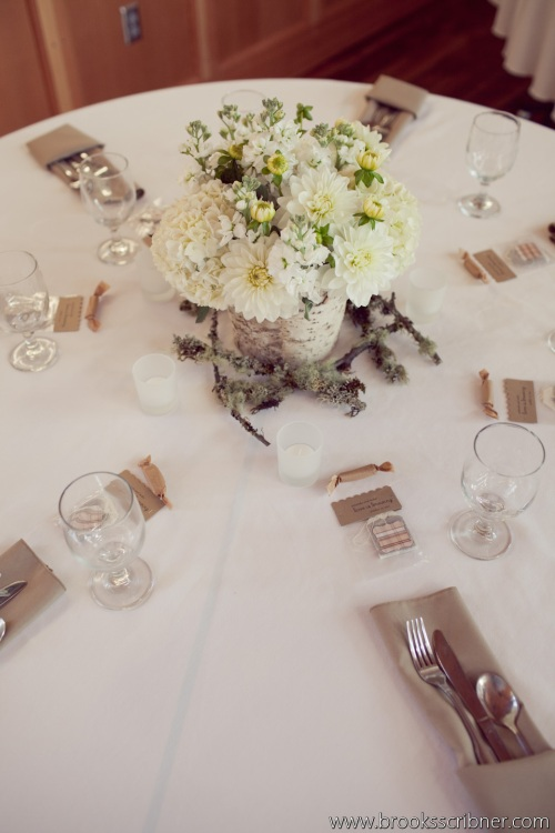 Brooks Scribner Photography Christopher Flowers wedding reception centerpiece dahlia birch white beach