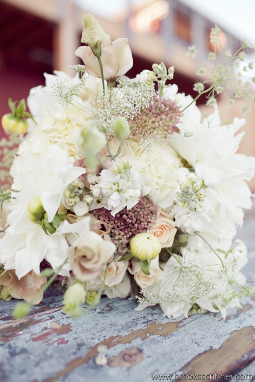 Brooks Scribner Photography Christopher Flowers wedding bouquet dahlia soft pale beach