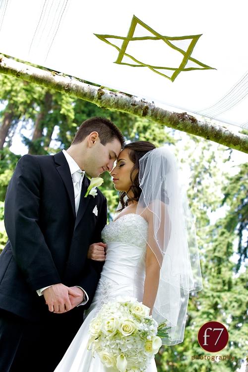 f7 Photography Christopher Flowers wedding Seattle bouquet ceremony chuppah Jewish white bride calla rose hydrangea