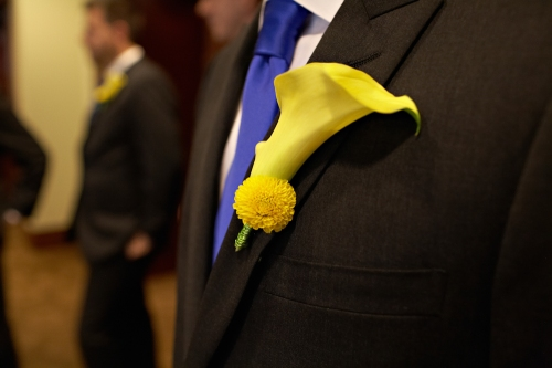 Eliza Truitt Photography Christopher Flowers wedding blue yellow modern boutonniere