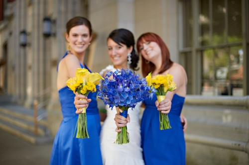 Eliza Truitt Photography Christopher Flowers wedding blue yellow modern bouquet