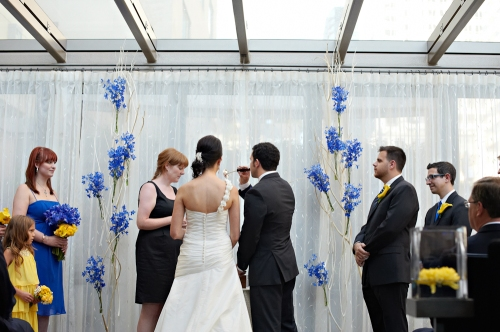 Eliza Truitt Photography Christopher Flowers wedding blue yellow modern ceremony