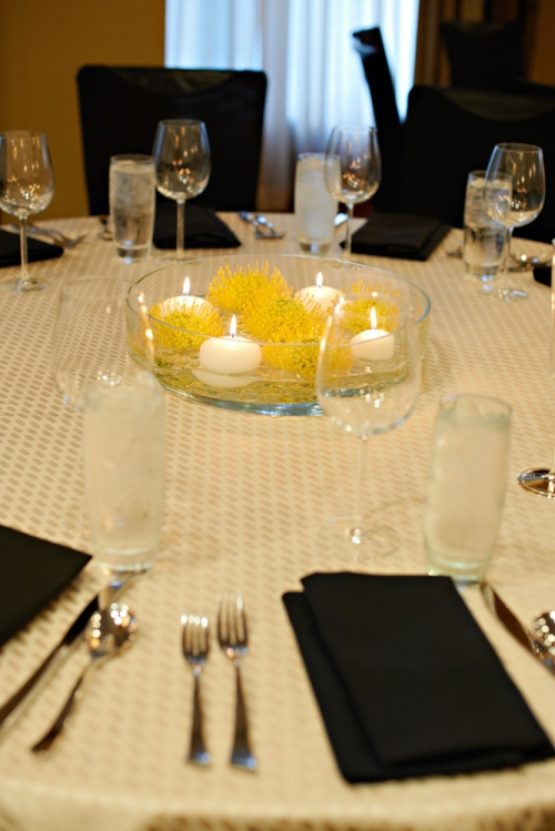 Eliza Truitt Photography Christopher Flowers wedding yellow modern centerpiece