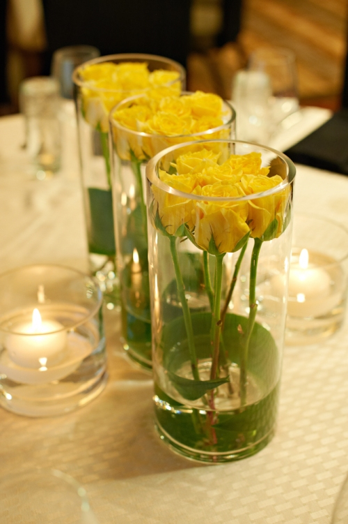 Eliza Truitt Photography Christopher Flowers wedding yellow modern centerpiece rose
