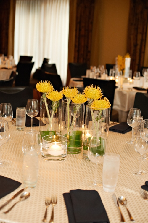 Eliza Truitt Photography Christopher Flowers wedding yellow modern centerpiece pincushion protea