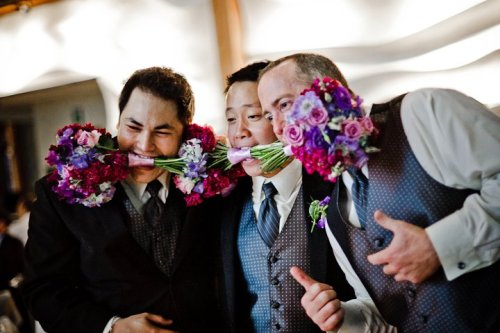 Dale Tu Photography Christopher Flowers Seattle Wedding Bouquet Bridesmaid Pink Purple Lavender Rose