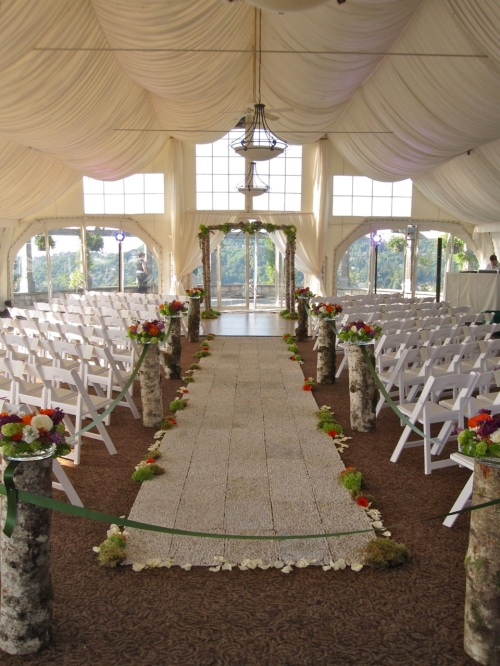 Christopher Flowers wedding ceremony birch arbor natural organic pebble green hydrangea