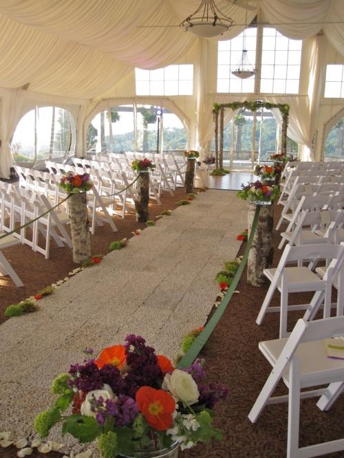 Christopher Flowers wedding ceremony birch arbor moss natural organic pebble green hydrangea poppy