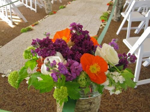 Christopher Flowers wedding ceremony birch natural organic pebble green hydrangea poppy