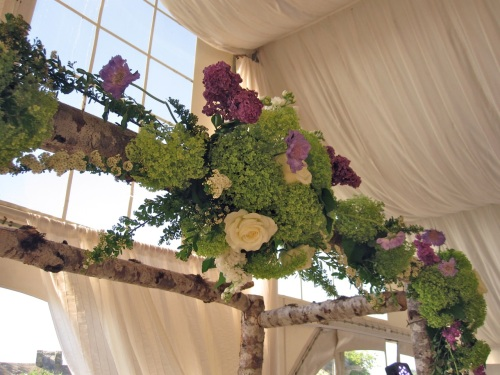 Christopher Flowers wedding ceremony birch natural organic green hydrangea lilac garden rose Seattle
