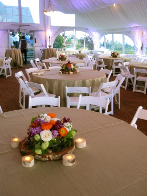 Christopher Flowers wedding reception centerpiece birch natural organic green hydrangea poppy garden rose Seattle