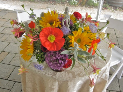 Christopher Flowers Wedding Centerpiece Wildflower Winery Poppies Sunflowers Organic