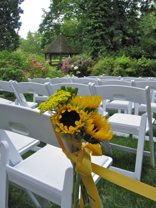 Christopher Flowers Wedding Ceremony Wildflower Winery Sunflowers Outdoor