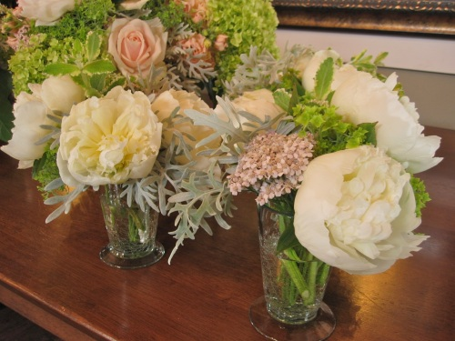Christopher Flowers wedding rehearsal dinner flowers blush pink apple green peonies dahlias hydrangea roses local organic winery garden
