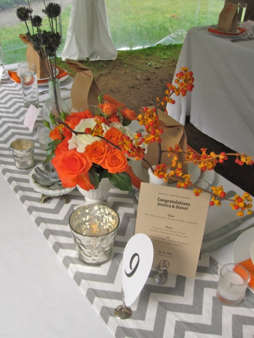 Christopher Flowers wedding Treehouse Point northwest vintage local organic orange grey gray rose succulent dahlia Seattle