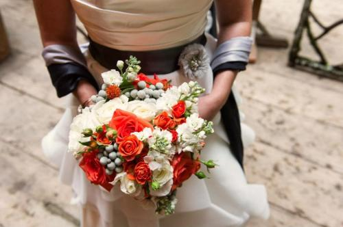 Christopher Flowers Lei Gong Photography wedding orange grey northwest rustic birch vintage white succulent rose