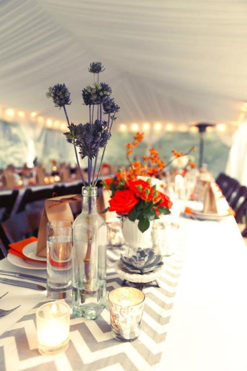 Christopher Flowers Lei Gong Photography wedding orange grey northwest rustic birch vintage white succulent rose reception centerpiece