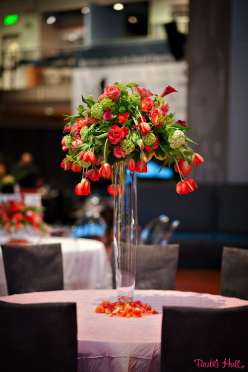 Christopher Flowers event floral museum centerpiece coral pink red orange tulip rose ranunculus viburnum