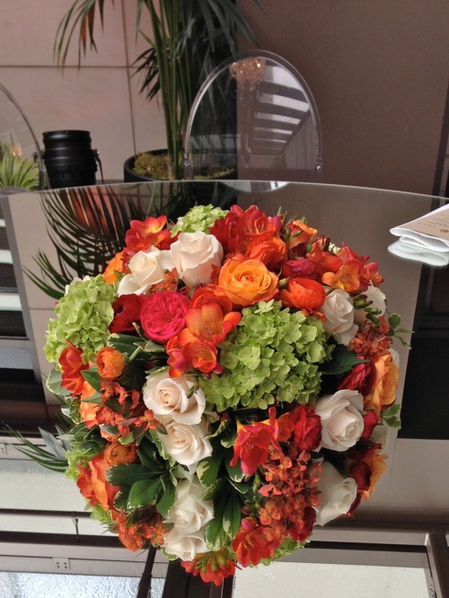 Christopher Flowers wedding red orange rose ranunculus green hydrangea orchid centerpiece reception