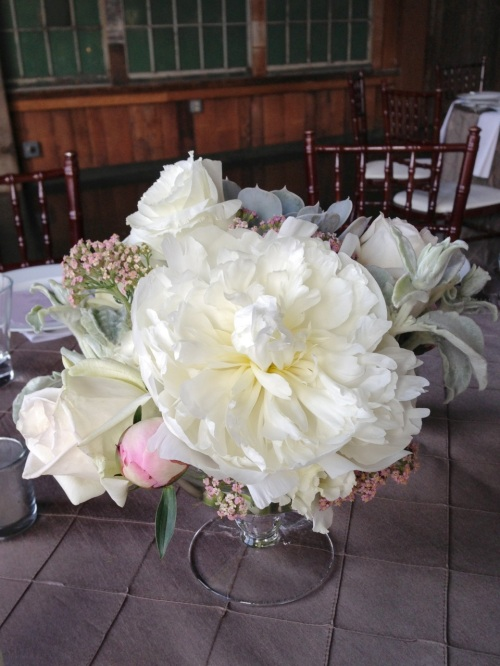 Christopher Flowers wedding peony peonies blush ivory grey gray succulent