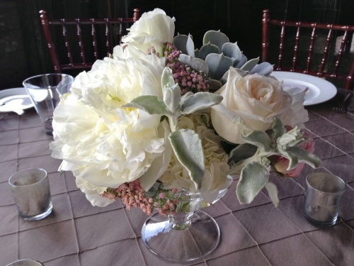 Christopher Flowers wedding blush ivory grey gray peony succulent