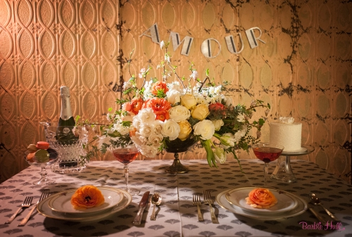 Barbie Hull Photography Christopher Flowers wedding vintage paris french art-deco ranunculus rose tulip white peach orange romantic centerpiece