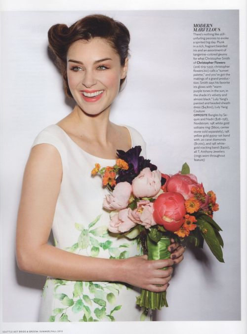 Seattle Met Bride & Groom Magazine Christopher Flowers bouquet peony iris coral indigo orange
