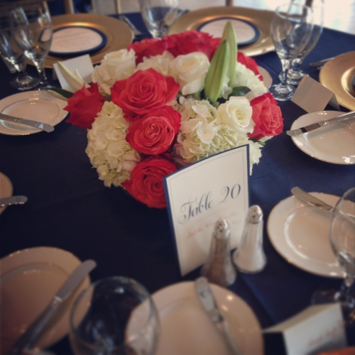 Christopher Flowers Seattle wedding white summer rose hydrangea lily centerpiece orange