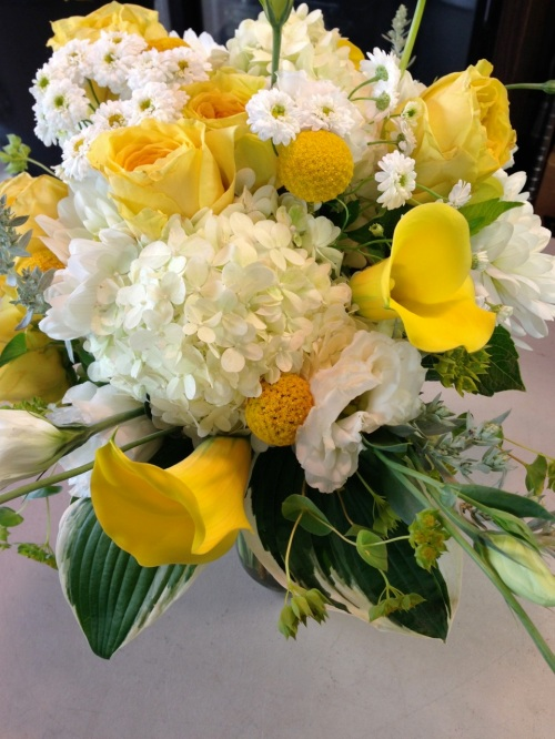 Christopher Flowers Seattle bouquet wedding yellow gold saffron white