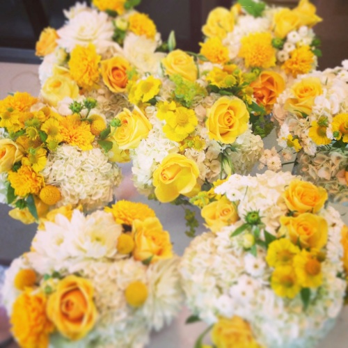 Christopher Flowers Seattle wedding white yellow saffron gold bouquet garden rose calla hydrangea local organic lisianthus dahlia