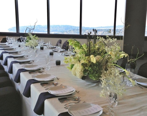 Christopher Flowers Seattle wedding white green lush urban opulent hydrangea orchid cymbidium dendrobium fern calla willow hosta gay wedding same-sex wedding