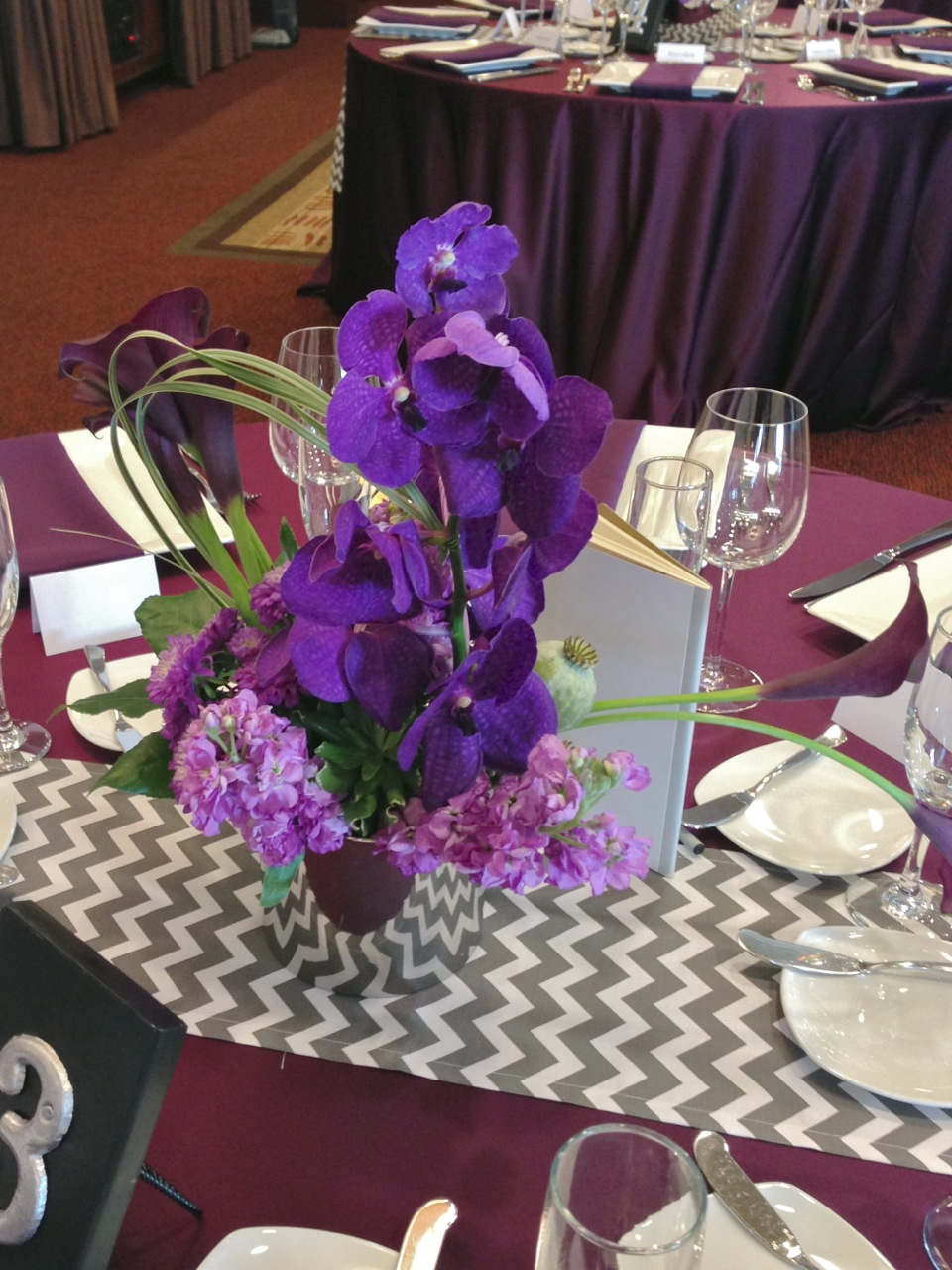Purple and silver centerpieces for weddings tube wedding seattle