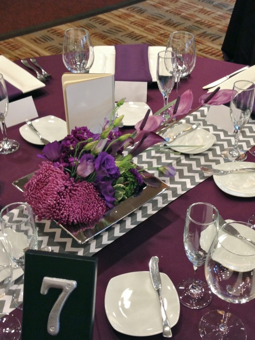 wedding Seattle Christopher Flowers purple modern calla orchid anthurium mum silver centerpiece