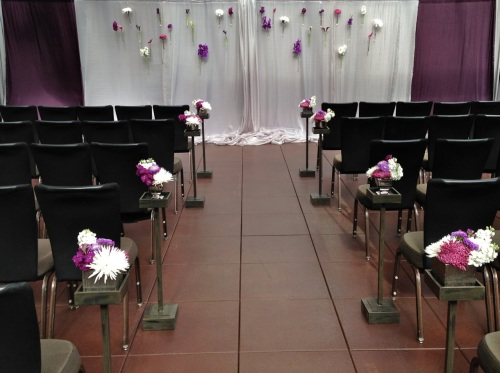 wedding Seattle Christopher Flowers purple modern calla orchid anthurium mum