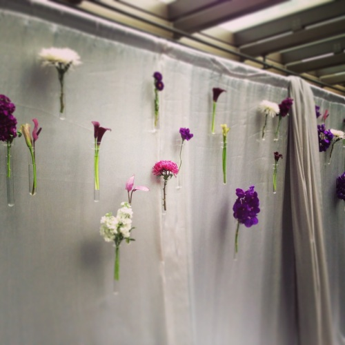 wedding Seattle Christopher Flowers purple modern calla orchid anthurium mum test tube