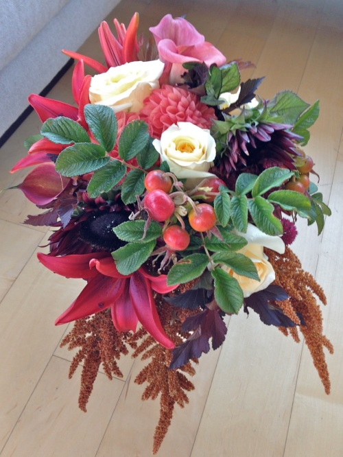 bouquet fall lily rose dahlia amaranth calla lilies sunflower bronze rust cream burgundy