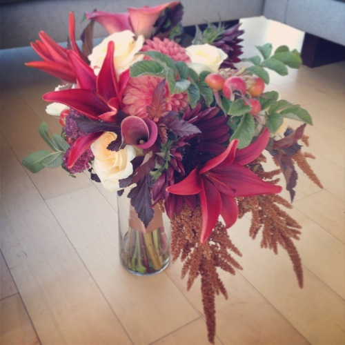 bouquet fall lily rose dahlia amaranth calla lilies sunflower bronze rust cream burgundy Christopher Flowers Seattle