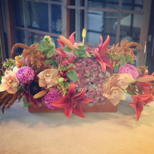 centerpiece fall orchid hydrangea lily bronze rust cream fall christopher flowers seattle