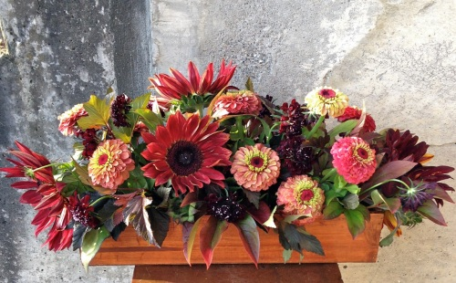 centerpiece fall wood box sunflower zinnia foliage christopher flowers seattle
