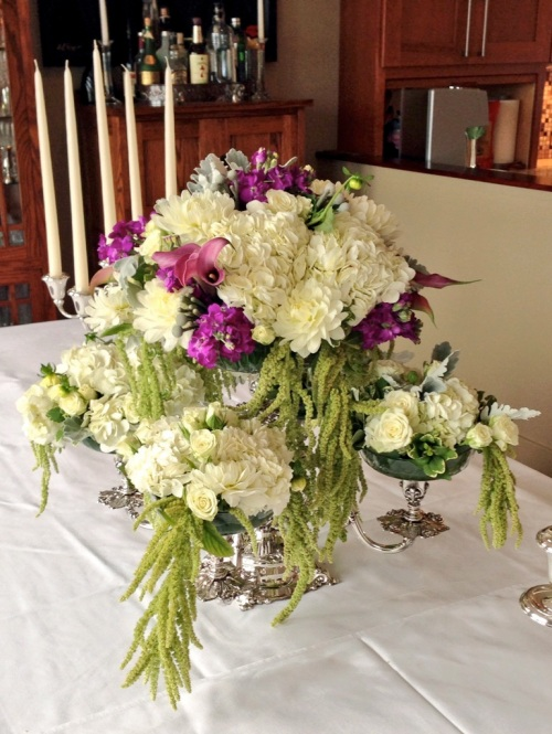 wedding flowers white purple silver hydrangea rose calla stock amaranthus brunia christopher flowers seattle