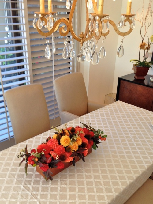 centerpiece fall wood box dahlia crabapple echinacea pod foliage christopher flowers seattle