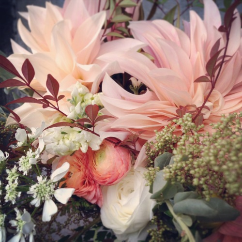 bouquet dahlia cafe au lait peach cream flower floral christopher flowers organic local design ranunculus