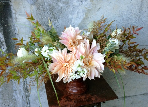 centerpiece dahlia cafe au lait peach cream flower floral christopher flowers organic local design garden rose nandina fall