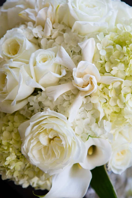 wedding white green orchids hydrangea garden roses lily white green orange dahlia bouquet bride