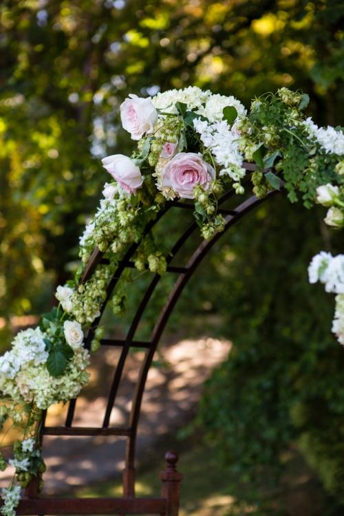 Christopher Flowers Seattle wedding garden rose pink ivory peach dahlia hydrangea northwest park