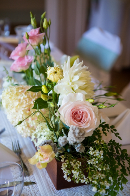 Christopher Flowers Seattle wedding garden rose pink ivory peach dahlia hydrangea northwest park