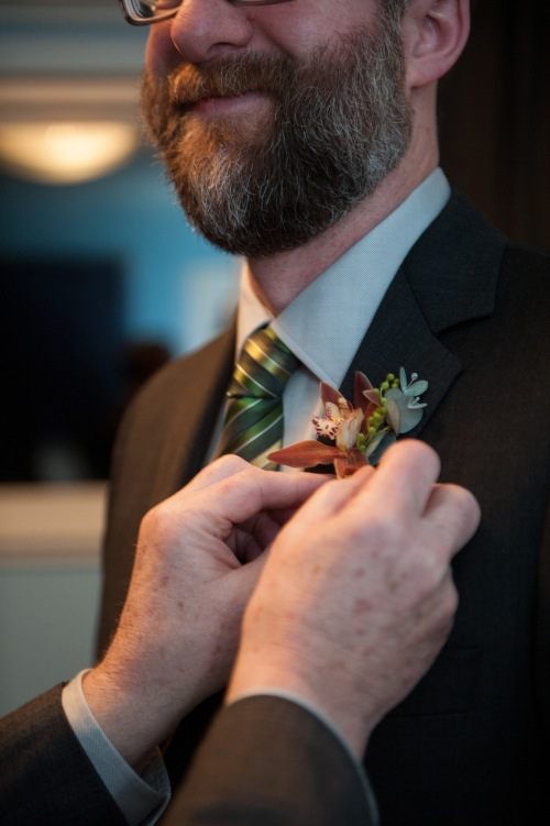 Christopher Flowers Seattle Barbie Hull Photography wedding flowers green white northwest silver orchid boutonniere ceremony