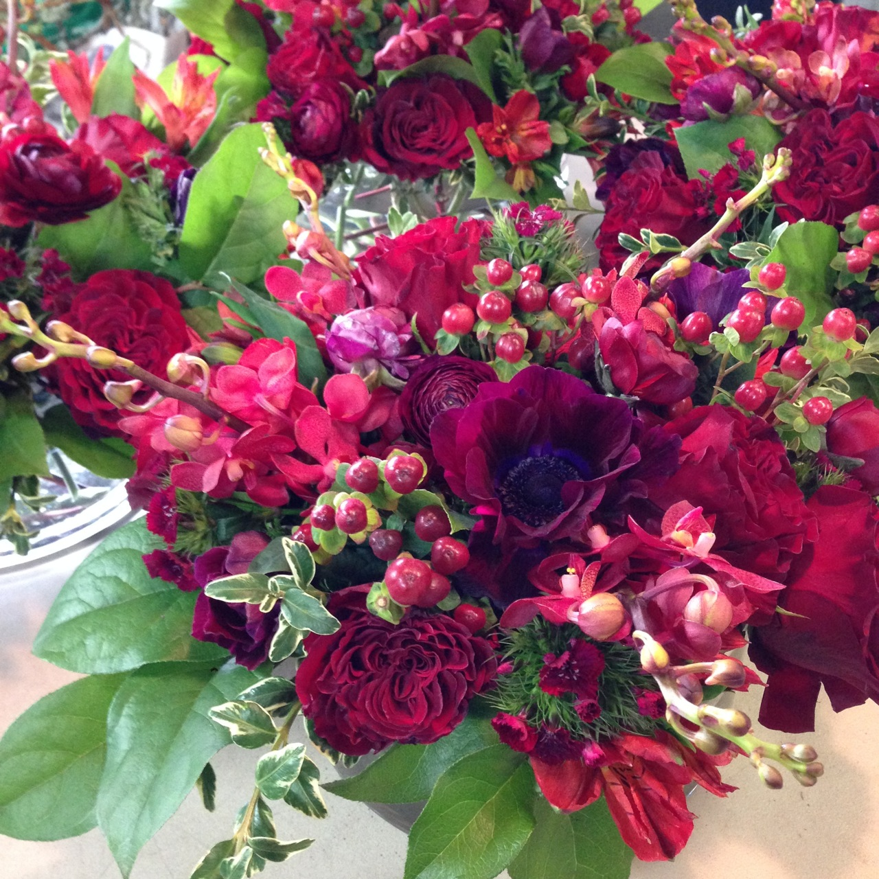 Wedding Flowers Christopher Flowers Seattle Red Burgundy Winter Local