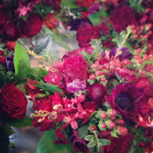 wedding flowers christopher flowers seattle red burgundy winter local gay wedding marriage equality four seasons anemone garden rose berry orchid